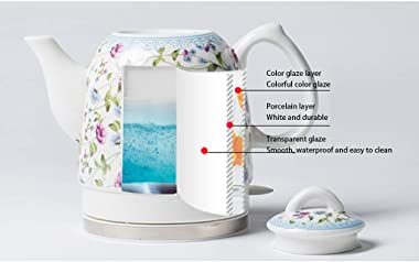 Electric Ceramic Cordless White Kettle Teapot - Retro 1.5L Jug, 1350W Boils Water Fast Ceramic electric kettle - 304 Stainles