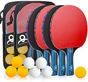 Allnice Ping Pong Racket Set with Carry Cases