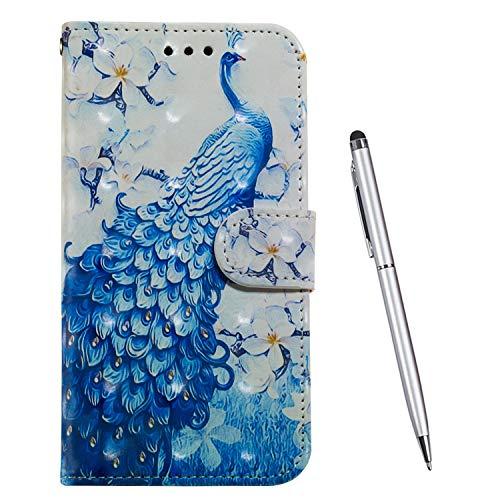 TOUCASA Kompatibel mit Samsung Galaxy A80 / A90 Hülle, Handyhülle Brieftasche PU Leder Flip [3D] Hülle Magnetverschluss Handytasche Klapphülle Tasche Lederhülle Schutzhülle (Pfau)