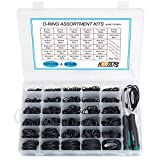 KOOTANS 32Size 1225Pcs Metric Nitrile Rubber O Rings Assortment Kit + 4pcs O-Ring Remover, Oil Resistant NBR O-Ring Sealing Assortment Kit Set for Air Plumbing, Fuel Injector and Faucet Seal O Rings