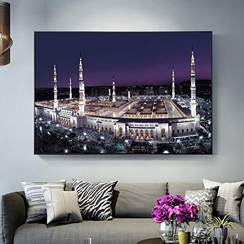 YuanMinglu Mekka Heiliges Land Nacht Szene Poster an der Wand realistische islamische muslimische Moschee Dekoration Bild Wohnzimmer Dekoration rahmenlose Malerei50x70cm