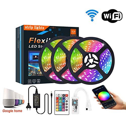 Luces de Tiras LED Luz RGB, Control de Voz y App Inteligente, WiFi Tira TV de la Música Compatible con Alexa y Google Home, Decoración para el Hogar, Boda y más,5m/150 Leds