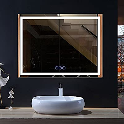 DP Home Horizontal LED Lighted Bathroom Vanity Mirror, Frameless Wall Mounted Mirror with Anti-Fog and Bluetooth Function, 48 x 36 in (E-CK010-B1)