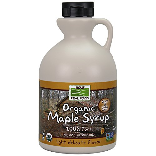 NOW Foods Certified Organic Maple Syrup Grade A Amber Color 100% Pure Light Delicate Flavor Certified NonGMO 32Ounce