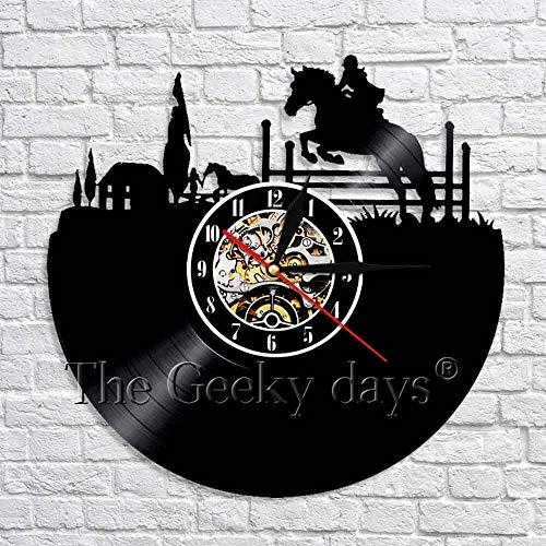 fdgdfgd De diseño Retro Ecuestre Reloj de Pared de Vinilo Retro Reloj de Pared clásico 3D Art Deco | Grabar decoración de Luces de Halloween