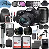 Canon EOS 90D DSLR Camera 32.5MP Sensor with EF-S 18-135mm Lens, 2 Pack SanDisk 128GB Memory Card, Backpack, Full Size Tripod & A-Cell Accessory Bundle (Black)