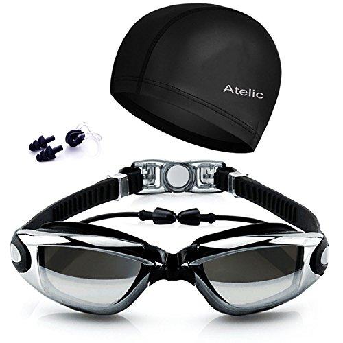 Atelic Swim Goggles On Amazon - 2017 Best Swimming Goggles Swim Cap Set Non Leaking - Adjustable for Men Women Youth Kids - UV Protection Anti Shatter Clear Vision Anti Fog Lenses