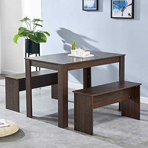 4HOMART Dining Table and 2 Benches Wooden Finish 3 Piece Kitchen Dinette Table and Chairs Set with 4 Seat Space Saver for Small Apartment