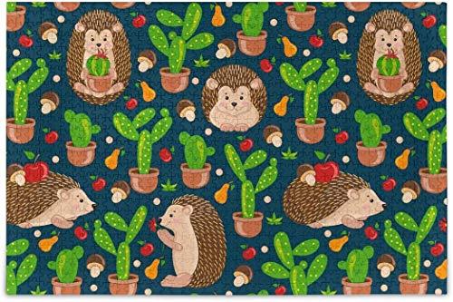 Rompecabezas para adultos 500 - Lindos erizos Cactus Puzzles Piezas para la familia diferentes juegos de rompecabezas