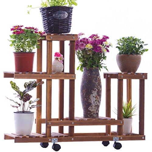 & Pot rack Support de plante de pied de fleur et planteur de poulie mobile en bois solide de cadre de bonsaï Pots à fleurs décoratifs