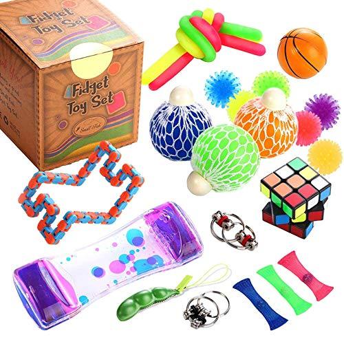 KTYX Fidget Toys Set 25 Piezas Uguetes Antistress Antiestres - Sensory Pack Fidget Toys Set Push Pop Antiestres - Juguetes Antiestres para Alivia el Estrés Y La Ansiedad - Juegos Antiestres Regalo