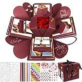WisFox Überraschung Box, Kreative DIY Handgemachte Überraschung Explosion Geschenkbox Liebesgedächtnis, Scrapbooking Fotoalbum Geschenkbox zum Geburtstag Valentinstag Hochzeit Weihnachtsfest (Rot)