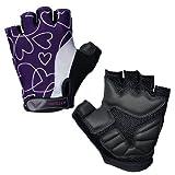 Attono - Guantes de ciclista para mujer (red transpirable, acolchados con gel, sin dedos), diseño corazones morados, color negro Talla:Ladies XL