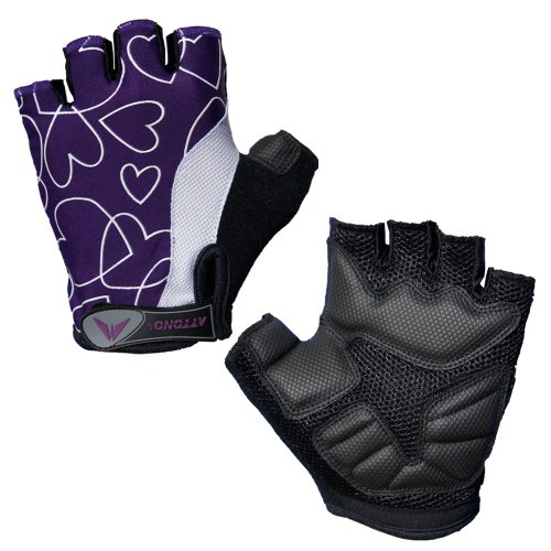 Attono® - Guantes de ciclista para mujer (red transpirable, acolchados con gel, sin dedos), diseño corazones morados, color negro Talla:Ladies XL