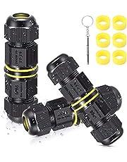 Kabelverbinders, waterdicht, IP68, 3-polig, verbindingsbox voor aardkabel met mini-schroevendraaier en 6 rubberen ringen, 3 stuks verdelerdoos, aansluitdoos voor Ø 5-12 mm kabeldiameter