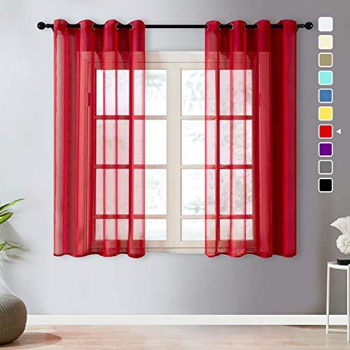 cortinas cortas rojas
