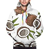 Hand painted coconut pattern Cotton Unisex Hoodies 3D Printed Graphics Fleece Pockets Pullover Sweatshirts for Christmas Halloween Mens Black