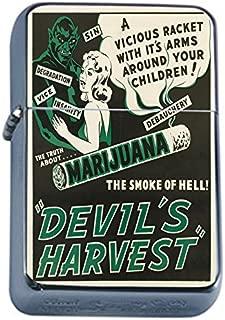 Vintage Poster The Devil's Harvest Flip Top Oil Lighter S302 Smoking Cigarette Smoker Includes Silver Case