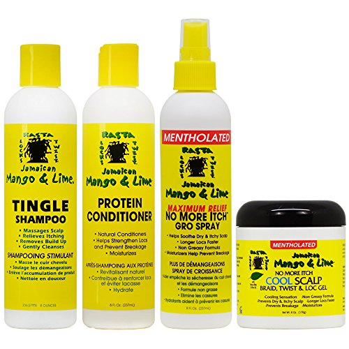 Jamaican Mango & Lime Cooling Scalp Care 4-piece'Set' (Shampoo, Conditioner, Maximum Relief Spray 8 oz, Cool Scalp Braid and Twist & Loc Gel)