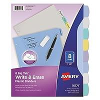"Wholesale CASE of 25–Avery半透明丈夫write-on dividers-write-onディバイダー、半透明、8-tab、8–1/ 2"" x11""マルチ"