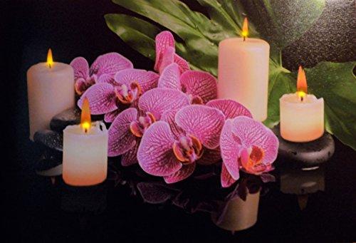 Geschenkestadl Großes LED Wandbild Feng Shui Orchidee mit Kerzen beleuchtet 60 cm x 40 cm