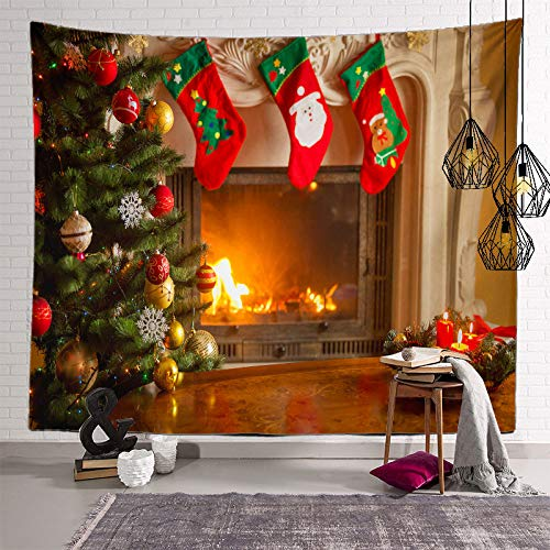 ZHOUBIN Arazzo da Parete,Christmas Tapestry Wall Hanging Christmas Tree Calzino Stampa Camino,Large Polyester Art Decor Fabric Background for Holiday Party,200X150Cm