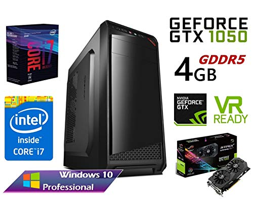 PC Ordenador Gaming SOBREMESA Intel Core i7 Quad Core up to 3,46Ghz | Gráfica Nvidia GTX 1050 4GB MultiScreen | RW DVD/CD | Windows 10 Pro | WiFi | (16GB RAM | SSD 240GB | 1TB HDD)