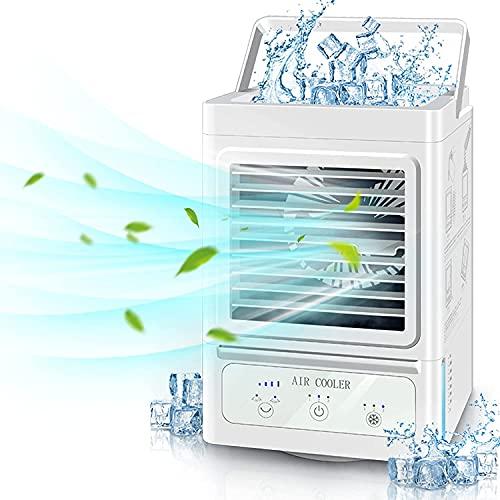 Winique Raffreddatore d'aria, Condizionatore Portatile con 3 velocità, 4 in 1 mini condizionatore, umidificatore a nebbia oscillante con 3 regolazioni, Adatto per casa e ufficio stanza