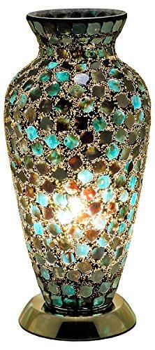 Febland LM79CM Mosaik-Vasen-Lampe, Glas Modern schwarz