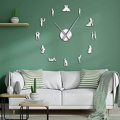 Embarazo pared arte decoración del hogar DIY grandes relojes de pared embarazadas mujeres recién nacidas bebé mamá ser decorativo reloj de pared regalo de inauguración de la casa (37 pulgadas)