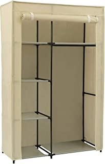 Home-Like Portable Clothes Closet Storage Wardrobe Closet Organizer Storage Closet with Non-Woven Fabric and Hanging Rod Space-Saving Organizer Cabinet L41.73''xW17.72''xH65.35' (146-Beige)
