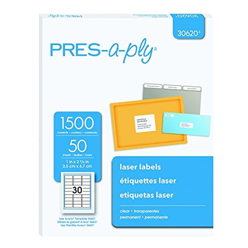 Pres-a-ply Laser Address Labels, 1 x 2.83 Inches, Clear, Box of 1500 (30620) zgmavcsb6319