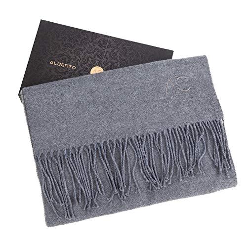 ALBERTO CABALE Donne Uomini Unisex Liscia Sciarpa in Cashmere Liscia Super Morbido Plaid Solido Wrap Shawl Scarf in scatola regalo Antracite