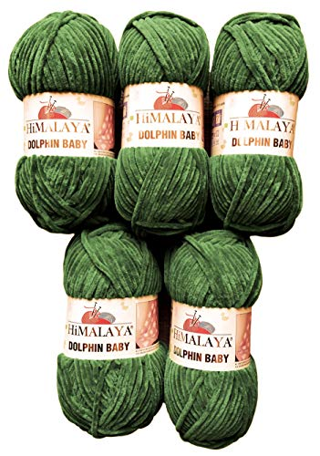 Himalaya 5 x 100 Gramm Dolphin Strickwolle, Babywolle, 500 Gramm Wolle Super Bulky (grün 80360)