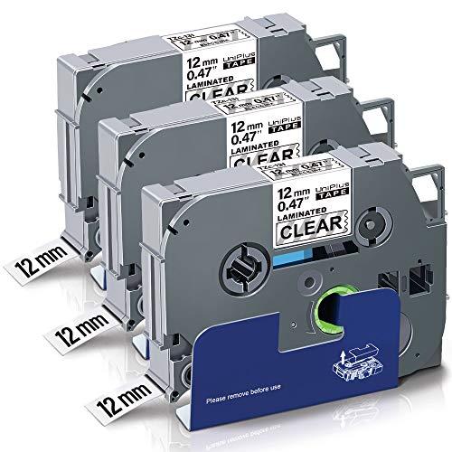 UniPlus 3x Nastro per Etichette Compatibile in Sostituzione di Brother Tze-131 TZe131 TZ 131 Tape 12mm Nero su Trasparente per Brother Ptouch PT-1000 PT-H100R H100LB PT-H107B PT-H110 PT-D400 PT-D600VP