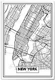 Panorama Póster Mapa de Nueva York 50 x 70 cm - Impreso en Papel 250gr - Póster Pared - Cuadros Modernos Decoración Salón - Cuadros para Dormitorio - Póster Decorativos
