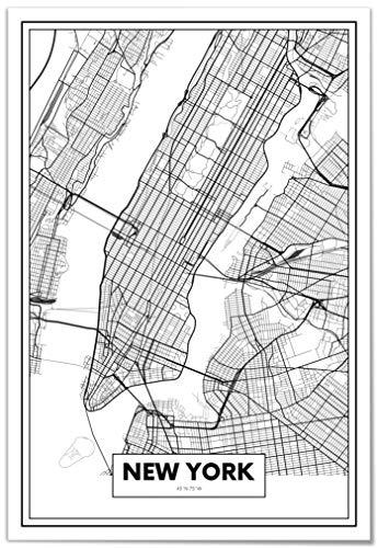 Panorama Póster Mapa Nueva York 70 x 100 cm - Impreso