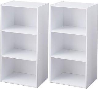 アイリスオーヤマ カラーボックス 3段 13色 2個セット 収納ボックス 本棚 幅41.5×奥行29×高さ88cm ホワイト DCX-3