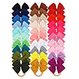 30 PCS Big Bows Baby Nylon Headbands 5 inch Hair Bows,Baby Girls Newborn Infant Toddler Child Hair Accessories for Fine Hair