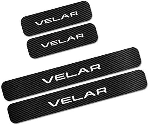 4 Pcs Coche Externo Umbral Puerta Bienvenida Kick Plates para Land Rover VELAR, Car Fibra Carbono Antiarañazos Antideslizante