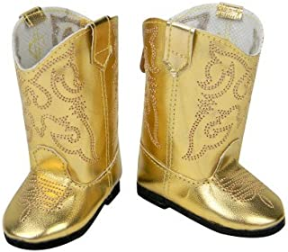 Doll Cowgirl Boots in Gold, Doll Shoes Fits 18 Inch Dolls Like 18 Inch American Girl, Shiny Gold Cowgirl Doll Boots