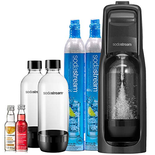 SodaStream Jet Sparkling Water Maker Bundle (Black), with CO2, BPA free Bottles, and 0 Calorie Fruit Drops Flavors