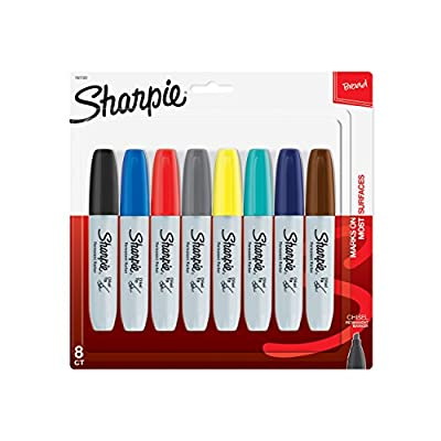 Sharpie Permanent Markers, Broad, Chisel Tip, 8-Pack, Assorted 2015 Colors (1927322)
