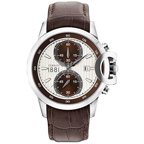 CERRUTI CRA133SN04BR CHIETI Chronograph Uhr Herrenuhr Lederarmband Edelstahl 50m Analog Chrono Datum braun