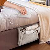 Bedside Caddy,Hyness Bedside Storage Organizer,Table Cabinet Hanging Storage Organizer,Sofa Felt Bedside Pocket,Under Mattress Holder Bag for Book,Ipad,Tablet,Remotes-Gray