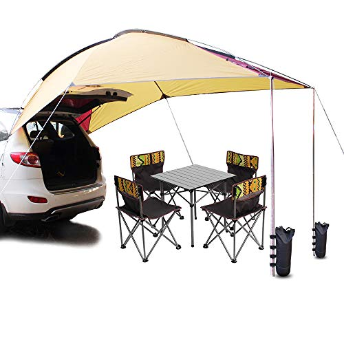 PlayDo Waterproof Teardrop Trailer Awning Portable Car SUV Awning Tent...