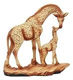Ebros Safari Giraffe Family Statue 6.75' Tall Faux Wood Resin Giraffe Mother and Calf in Wilfdlife Savanna Scene Figurine