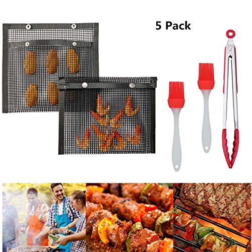 HFBlins Reusable BBQ Grill Mesh Bag Set-Non Stick Barbecue Mesh Bag, Silicone Brush and Kitchen Grill Tongs, Outdoor Picnic Cooking Heat-Resistant Grilling Baked Bags (2PCS-M)