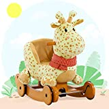 Labebe Child Rocking Horse Plush, Fawn Rocking Horse Stuffed, 2 in 1 Yellow Giraffe Rocker with Wheel for Kid...
