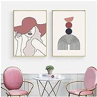 アートパネル 抽象的なミニマリストレインボーウォールアートライン女性のボディーアートプリントポスター写真リビングルームの家の装飾15.7x23.6in(40x60cm)x2pcsフレームなし